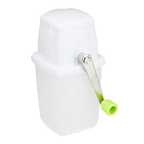 Relaxdays, weiß-grün Eiscrusher manuell, Eiszerkleinerer, mit Handkurbel, Barzubehör, ohne Strom, rostfrei, Ice Crusher, Standard