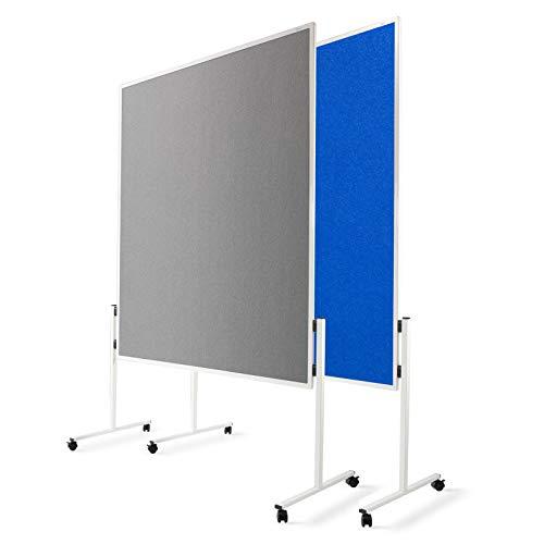 Moderationstafel Filz | doppelseitig | mit Rollen | Höhe: 185 cm | Farbe wählbar (grau)