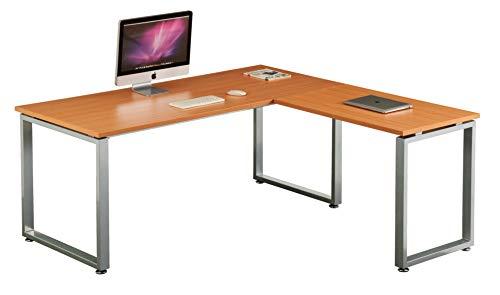 hjh OFFICE 674050 Eckschreibtisch WORKSPACE XL Buche/Silber Schreibtisch mit großer Arbeitsfläche 180 x 180 cm