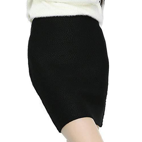 Oneworld gebreide rok voor dames en heren, voor meisjes, elastisch, modieus, gebreide rok met mini-rok, knielang, business