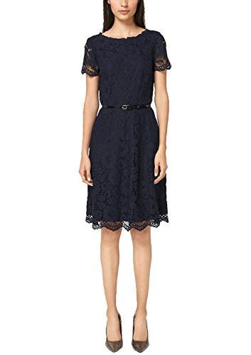s.Oliver BLACK LABEL Damen Tailliertes Spitzenkleid mit Gürtel Kleid, Blau (True Blue 5959), 38