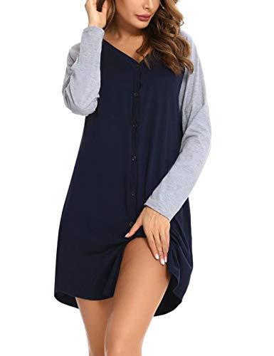 Aboria Camicia da Notte a Manica Lunga Cotone, Donna Camicia da Notte Pigiama T-Shirt Vestito, Camicia da Notte con Bottoni