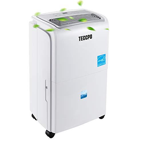 TECCPO Dehumidifier, 50 Pint 2500 Sq.Ft (2012 DOE), Energy Star, 30 Pint (2019 New DOE) Intelligent Humidity Control Panel, Auto or Manual Drain, High Performance for Home, Basement, Closet, RV