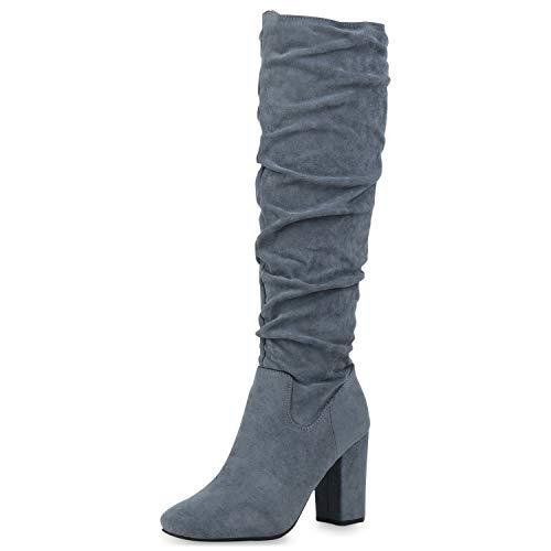 SCARPE VITA Damen Klassische Stiefel Veloursleder-Optik High Heels Blockabsatz Schuhe Slouch Boots Langschaftstiefel Absatzschuhe 186441 Hellblau 39