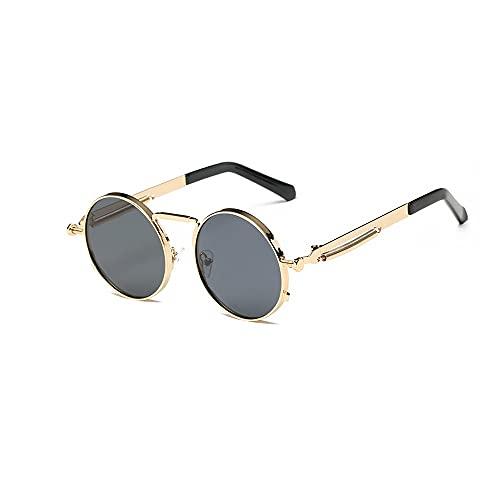 FEINENGSHUAI Taiyj Gafas de sol Retro Círculo Lentes Tintadas Gafas Circular Lente Plana Bisagra Primavera Marco Delgado Alambre