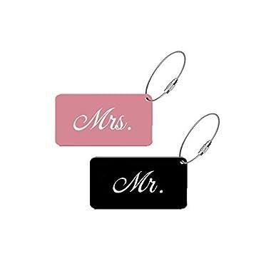 Sofi Weddings Elegant Mr Mrs Luggage Tags for Weddings & Bridal Shower Gifts Metal Finish (Pink & Black, 1 Mr. & 1 Mrs.)