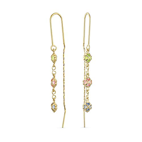 Delicate Three Colorful Pastel Crystal Purple Orange Multi Color Dangle Long Chain Heart Clover Flower Threader Earrings For Women Teens Stabilizing U Wire 18K Gold Plated