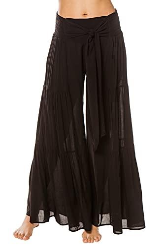 Elan Women's Wovens Wide Leg Bow Tie Pants Swim Cover Up Black S