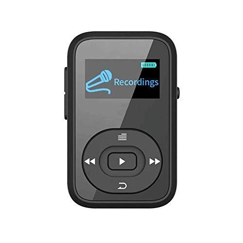 Z-Color Reproductor de MP3, Bluetooth 8 GB Reproductor de música con Extensible de Almacenamiento de 128 GB, sin pérdida de Sonido, Pantalla de 1.5', portátil Walkman for el Deporte (Color : Black)