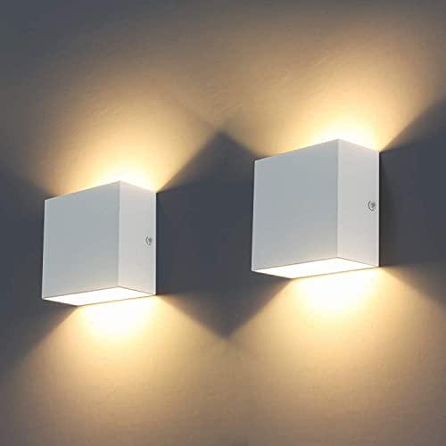 Luces de pared LED, 2 piezas Aplique de pared, lavado moderno interior, iluminación 6W LED aplique de pared 3000K Lámpara de pared arriba y abajo para sala de estar, dormitorio, pasillo ⭐