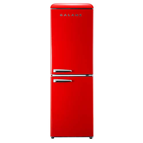 Galanz GLR74BRDR12 Retro Bottom Mount Refrigerator, Adjustable Mechanical Thermostat with True Freezer, 7.4 Cu.Ft, Red, Cu Ft