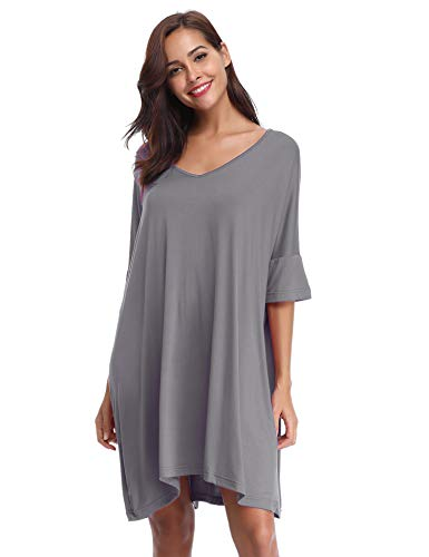 Aibrou Damen Nachthemd Nachtkleid Kurz Sommer Nachtwäsche Negligee Umstandskleid Stillnachthemd Sleepshirt aus Modal Dunkelgrau M