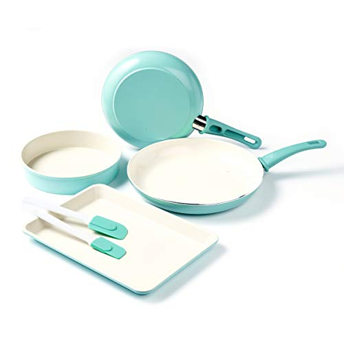 GreenLife Soft Grip Bakeware Healthy Ceramic Nonstick, Cookware Set, 6 Piece, Turquoise