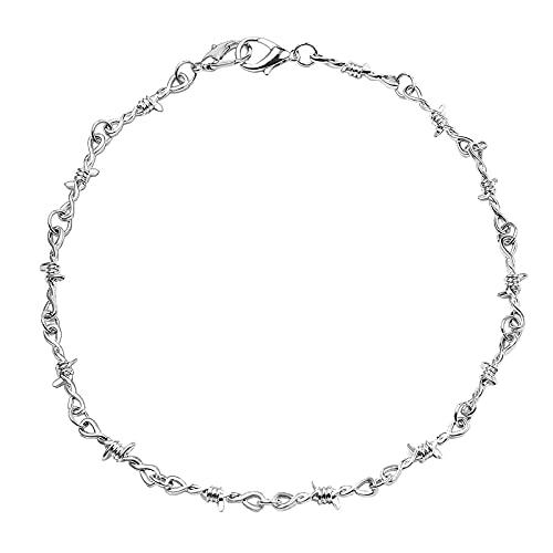 Colar gargantilha gótico unissex – Corrente gargantilha com arame farpado Hip Hop 50,8 cm, presente de joias punk para homens e mulheres