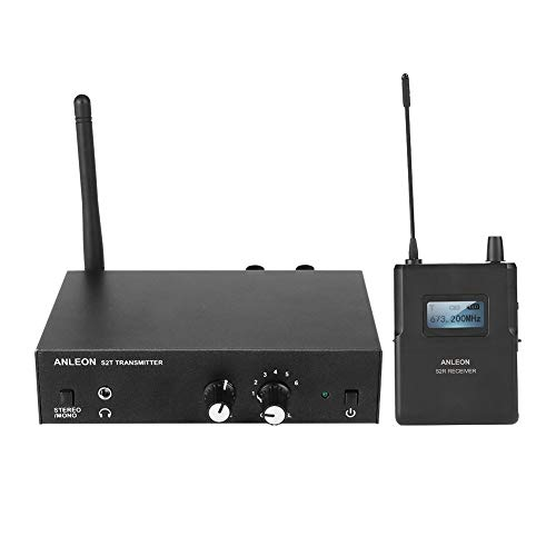 Sistema de Monitor inalámbrico In Ear VBESTLIFE Sistema de Monitor inalámbrico estéreo UHF 670-680MHZ para ANLEON (1 transmisor y 1 Receptor) (Enchufe de la UE)
