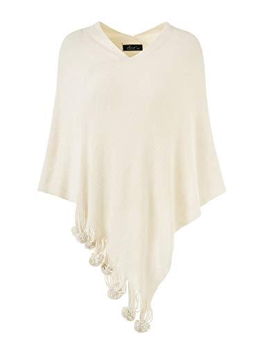 Ferand Eleganter Pullover Cape Poncho Damen Strick mit Quasten Gr. One size, beige