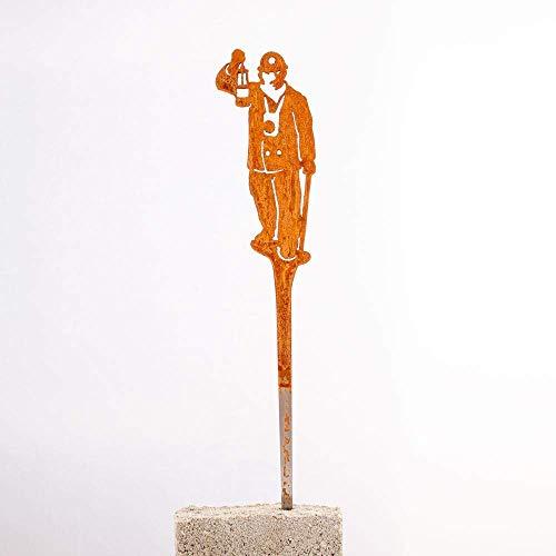 Galionsfigur Bergmann | Designer Blumenstecker Edelrost - 30cm hoch, Ruhrpott, Zeche, Nordrhein-Westfalen, Gastgeschenk, Mitbringsel, Made in Germany