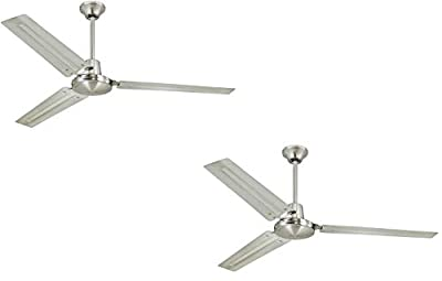 Industrial 56-Inch Three-Blade Indoor Ceiling Fan, Brushed Nickel Finish with Black Steel Blades - 2 Pack