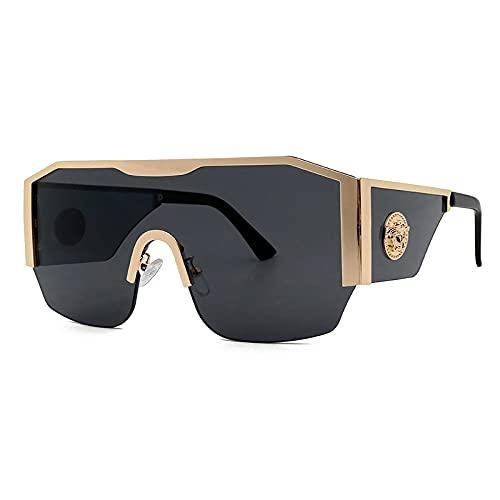 Gafas De Sol Gafas De Sol Cuadradas De Moda para Mujer, Gafas De Sol De Metal De Diseñador De Lujo para Hombre, Gafas Transparentes De Una Pieza, Gafa