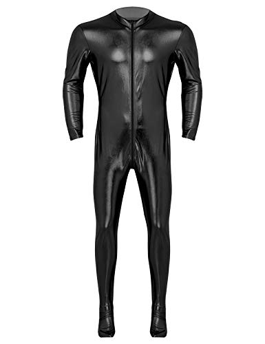 Agoky Herren Wetlook Bodysuit Slim Fit Ganzkörperanzug Metallic Jumpsuit Overalls Langarm Top und Strumpfhose Lange Leggings sexy Kostüm Schwarz XXL