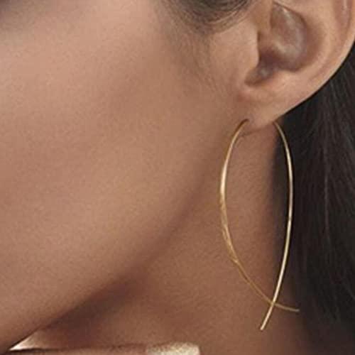 XCWXM Fashion Jewelry Ethnic Red Rose Drop Earrings Large Retro Rhinestone Earrings Female Rose Gold Spiral Drop Earrings-orange
