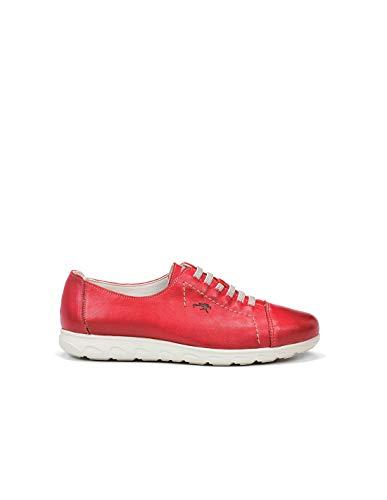 Fluchos | Zapato de Mujer | NUI F0854 Samun Rojo Com.4 | Zapato de Piel | Cierre con Elásticos | Piso de Goma