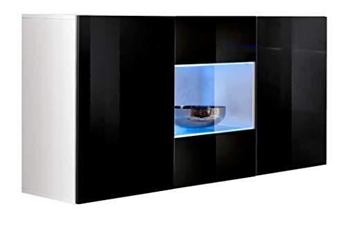 muebles bonitos – Aparador Colgante de diseño Varedo Blanco y Negro 120cm