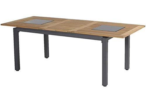 Hartman Concept Ausziehtisch in xerix/Natur aus Aluminium & FSC-Teak, 180/240x100cm, inkl. Granitinlays, Esstisch, Gartentisch