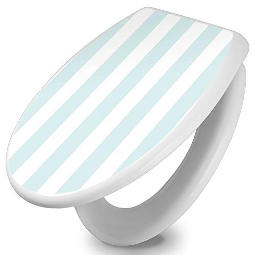 banjado Toilettendeckel mit Absenkautomatik   WC Sitz 42cm x 4cm x 37cm   Klodeckel weiß   Klobrille mit Edelstahl Scharnieren   Toilettensitz mit Motiv Streifen Hellblau