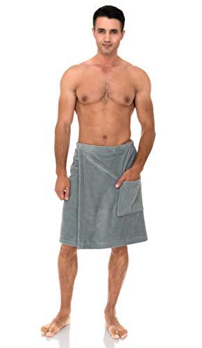 TowelSelections Men's Wrap, Shower & Bath, Terry Velour Towel Small/Medium Quarry
