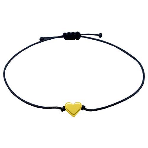 SelfmadeJewelry Armband met hartjes, textiel, zwart, goud, in grootte verstelbaar, filigraan vriendschapsarmband