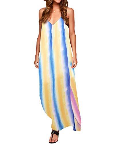 ZANZEA Sommerkleid Damen Ärmellose Maxikleid Blumen Langes Kleid V Ausschnitt Strandkleid Trägerkleid Casual, EU 44 / Etikett XXL, Bunt 2-b86694