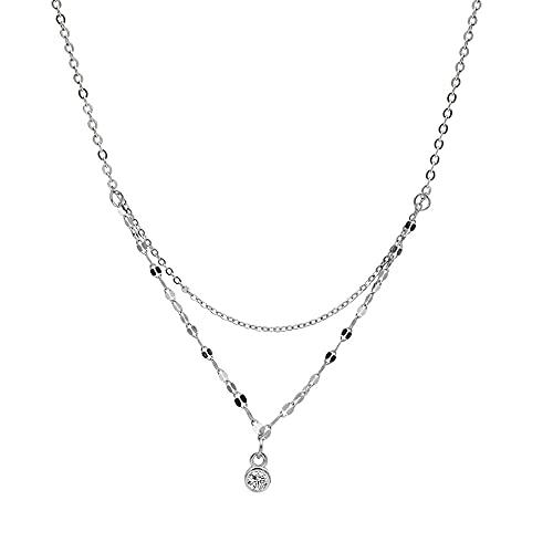 ShSnnwrl Colgante Colgante de Cristal de Moda de Plata esterlina S925, Collar de Cadena Ondulada de Doble Capa para Mujer, Cadena