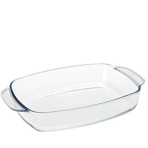 Auflaufform mit Griffen aus Borosilicat Glas 1,4 Liter backofenfest Lasagne Backform 27x17x5,7 cm