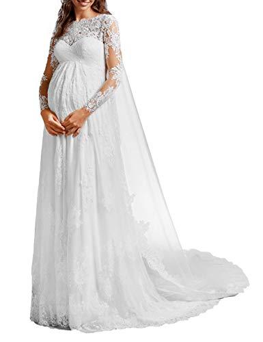 SongSurpriseMall Brautkleider Schwangere Lang Hochzeitskleider Damen Spitze Abendkleider Sommer Festkleid Weiß EU40