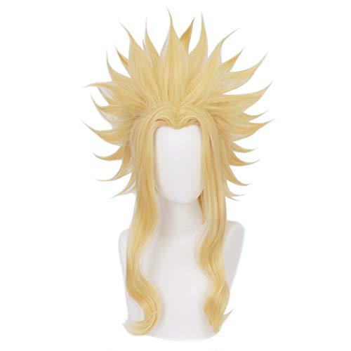 HIROAKIYA All Might Toshinori Yagi Wig, MHA My Hero Academia All Might Toshinori Yagi Cosplay Wig with Wig Cap, Perruque Blonde Courte Cosplay Anime