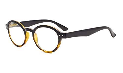Eyekepper bisagras de primavera redonda Retro de lectores de dos tono de Gafas de lectura (Negro/Amarillo, 2.50)