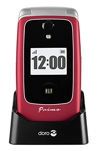 Primo 418 by Doro GSM Großtasten Mobiltelefon mit froßem Farbdisplay, Fallsensor, Taschenlampe, FM-Radio, Kalender, inkl. Tischladestation, rot, 360029
