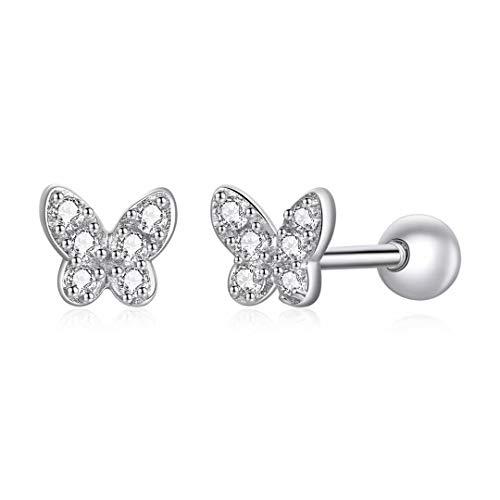 ToHa Pendientes Mariposa Blanca, Pendientes de Botón de Mariposa de Hadas Circón de Plata de Ley 925 Para Niñas