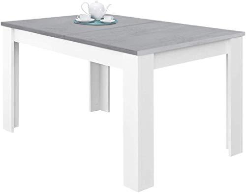 Tavolo Da Pranzo Allungabile Fino a 190 cm In Legno Toledo Tavolino Consolle Estensibile Salotto Salone Sala Pranzo Design Moderno Elegante 190 x 78 x 90 cm Colore Bianco E Grigio Cemento