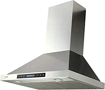 EKON NAP02-30IN Range Hood, 900CFM Wall-Mount Range Hood Ducted/Ductless Convertible Kitchen Chimney Vent, 4 Speeds Touch Control/Remote,Delay Shut Off Function,Dishwasher-safe Filters (NAP02-30IN)