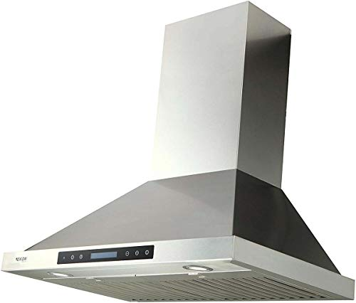 Range Hood, EKON NAP02 900CFM Wall Mount Range Hood Ducted/Ductless Convertible Kitchen Chimney Vent, 4 Speeds Touch Control/Remote,Delay Shut Off Function,Dishwasher-safe Filters (NAP02-30IN)