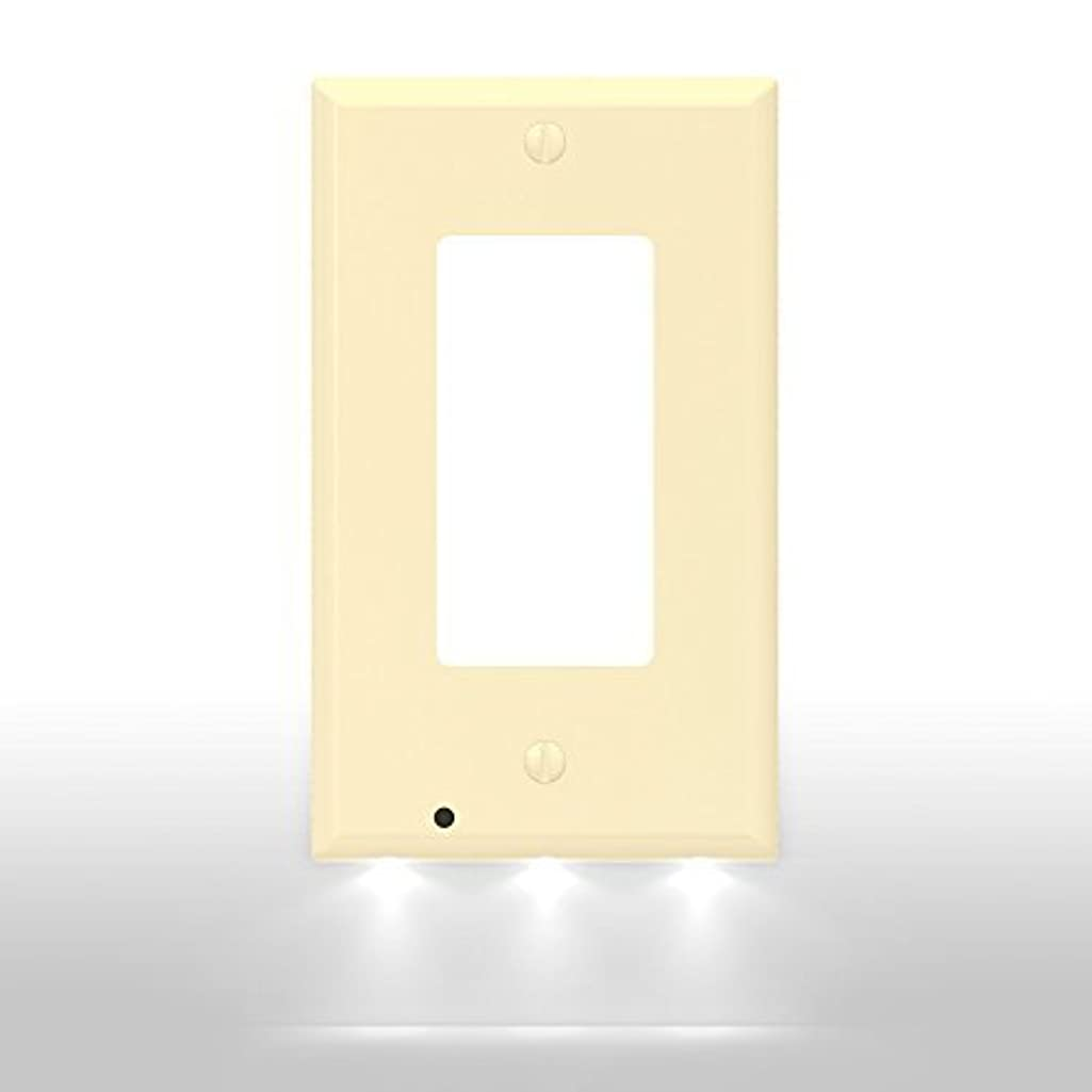 SnapPower Guidelight - Outlet Wall Plate With LED Night Lights - No Batteries Or Wires - Installs In Seconds - (Décor, Ivory) (1 Pack)