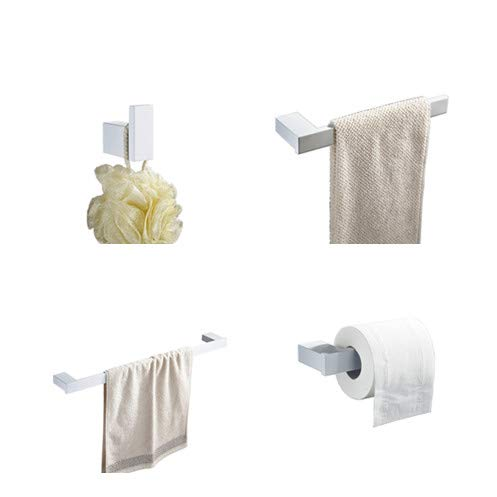 Juego de 4 accesorios para barra de toallas de baño, incluyendo Kelelife barra de toallas de 60,96 cm, soporte para toallas, gancho para bata, soporte para rollos de pañuelos, pintura blanca