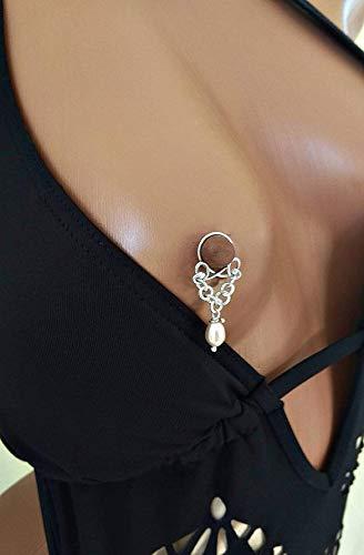 Handmade Nipplerings Non Piercing Nipple Rings with natural peach pearls Faux piercing Body jewelry Two Nipple Piercings