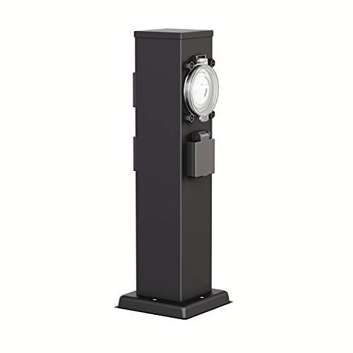 ledscom.de Garden Power Socket Column Polly Black for Outdoor, Triple with Timer, Stainless Steel, Angular, 38cm BS