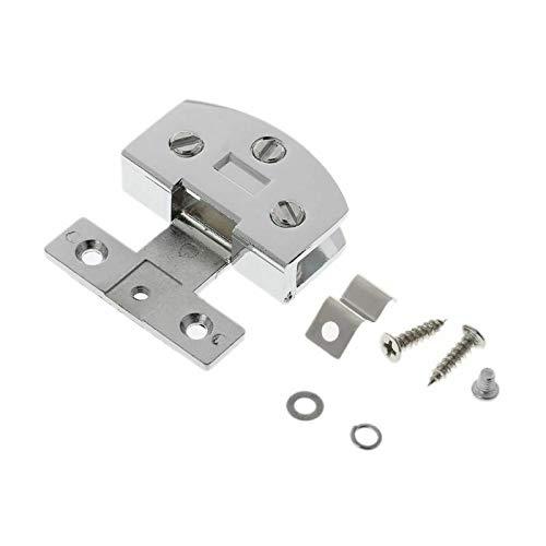 YEZIN Bisagras, 1PC Ducha Puerta de Vidrio Ajustable Solo Clip Bisagra Plata/Negro Tono Adecuado for su 5-8mm Seguridad (Color : Silver)