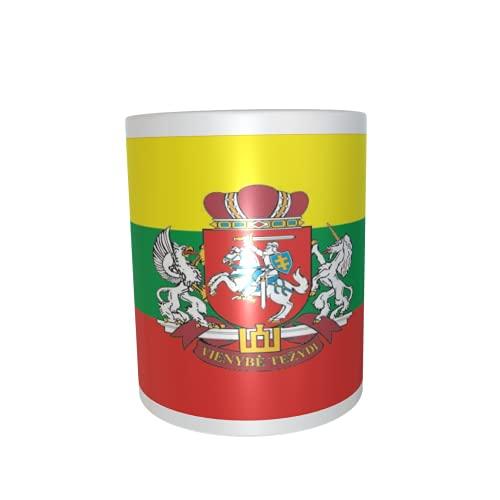 U24 Tasse Kaffeebecher Mug Cup Flagge Litauen mit Wappen