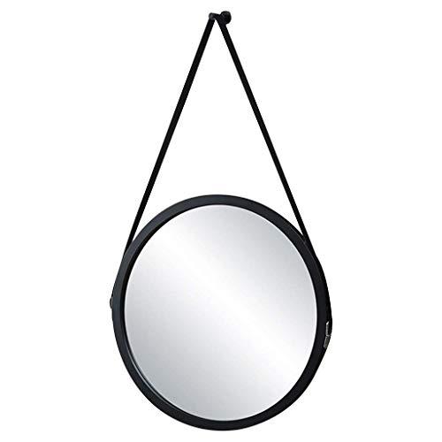 WLABCD Espejo, Baño, Montaje en Pared, Espejo de Maquillaje, Tocador, Pared Redonda de Colgante Geométrico Decorativo Acento Rústico con Cadena,Negro, 30 cm