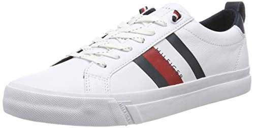 TOMMY HILFIGER Flag Detail Leather Sneaker, Scarpe da Ginnastica Basse Uomo, White Ybr, 45 EU
